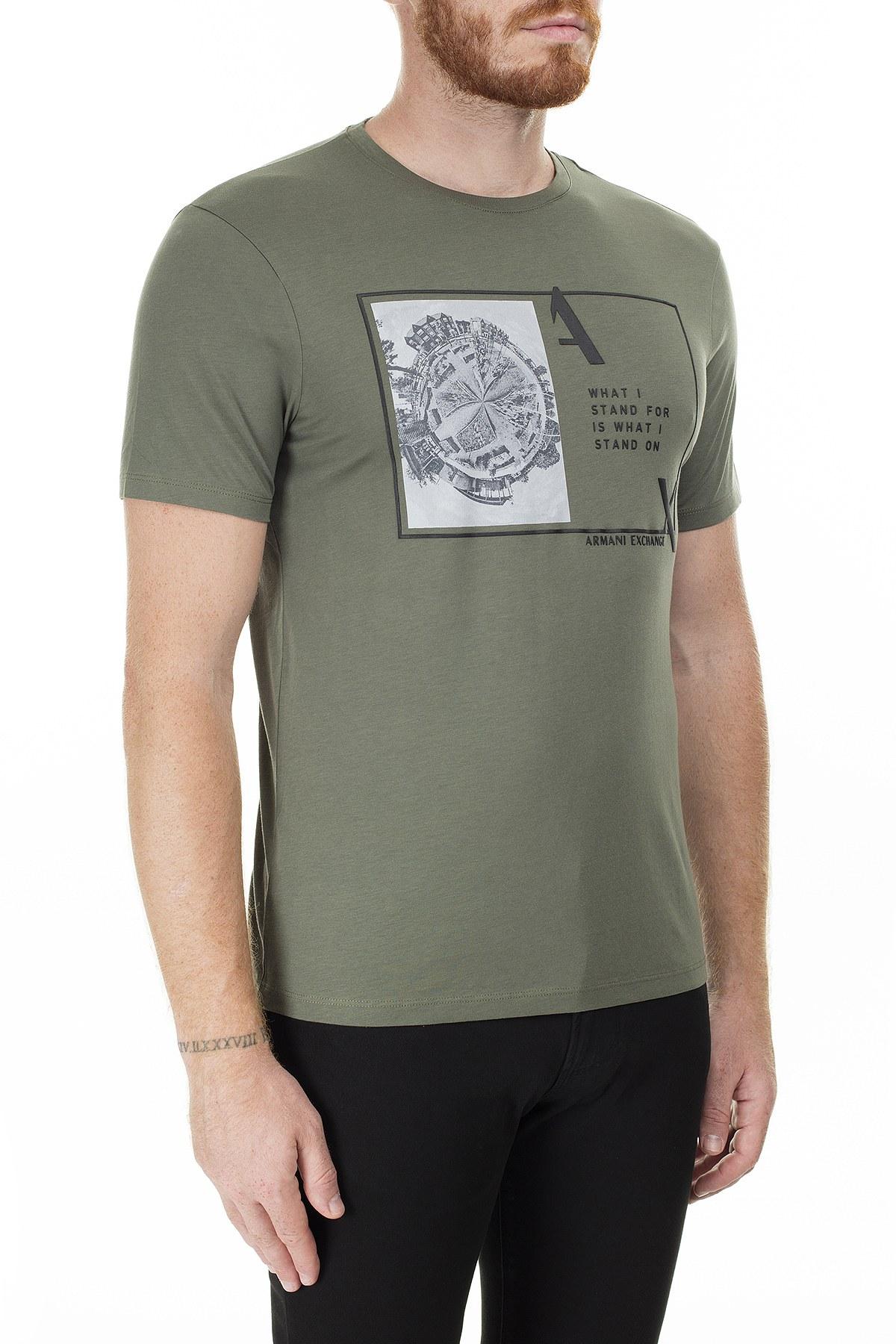 Armani Exchange Baskı Detaylı Bisiklet Yaka Erkek T Shirt 3HZTHJ ZJA5Z 1803 YEŞİL