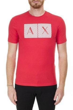 Armani Exchange - Armani Exchange Baskı Detaylı Bisiklet Yaka Erkek T Shirt 8NZTCK Z8H4Z 1400 KIRMIZI