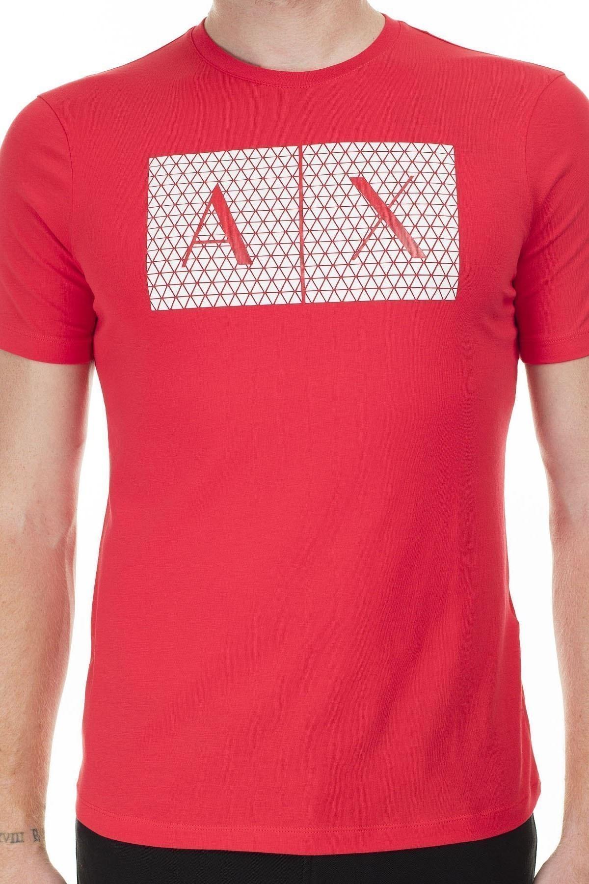 Armani Exchange Baskı Detaylı Bisiklet Yaka Erkek T Shirt 8NZTCK Z8H4Z 1400 KIRMIZI