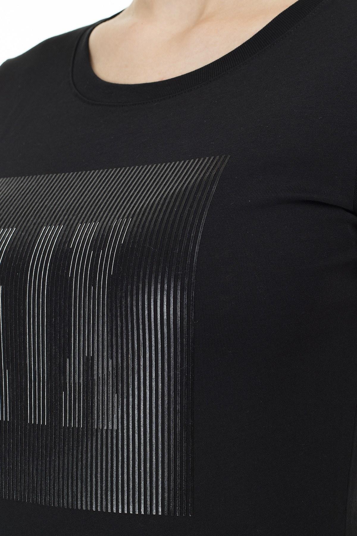Armani Exchange Baskılı % 100 Pamuk Bisiklet Yaka Kadın T Shirt 3HYTBM YJ3CZ 1200 SİYAH