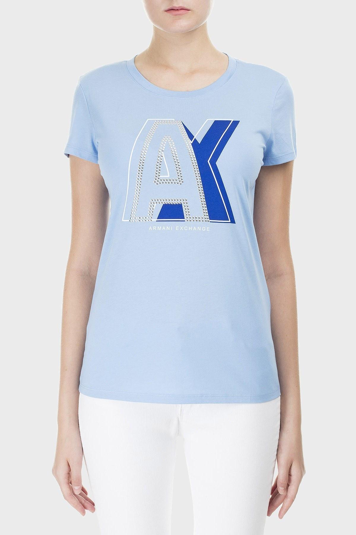 Armani Exchange Baskılı % 100 Pamuk Bisiklet Yaka Bayan T Shirt 3HYTCF YJ16Z 1516 MAVİ