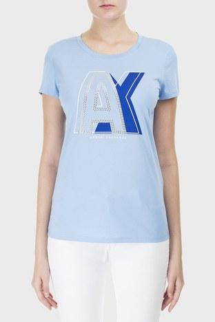 Armani Exchange - Armani Exchange Baskılı % 100 Pamuk Bisiklet Yaka Bayan T Shirt 3HYTCF YJ16Z 1516 MAVİ