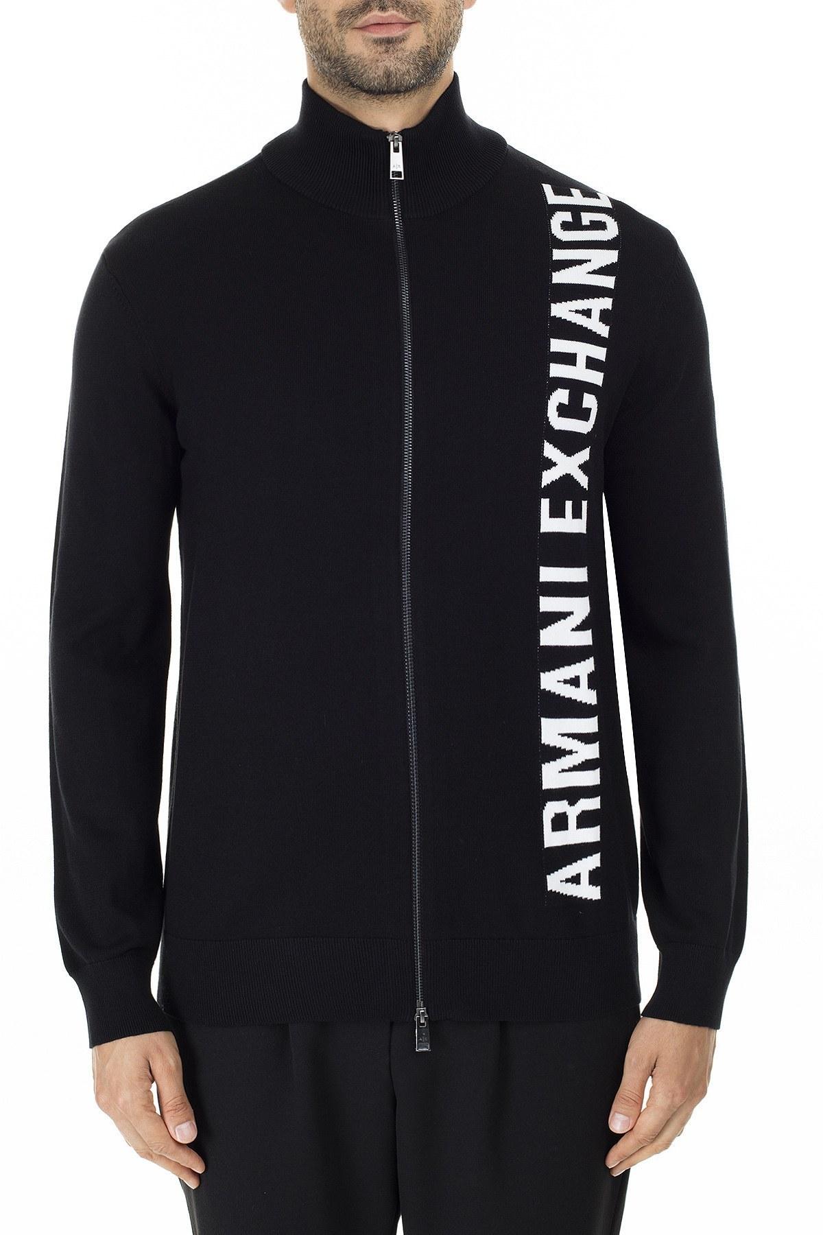 Armani Exchange Baskılı % 100 Pamuk Çift Yönlü Fermuarlı Dik Yaka Erkek Hırka 6GZE1R ZMU5Z 1200 SİYAH