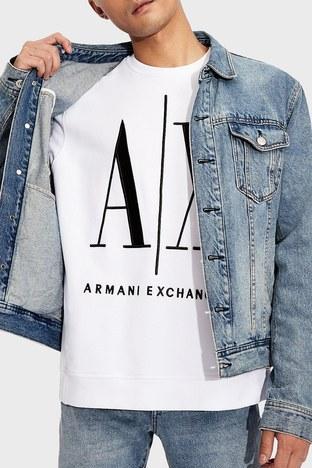 Armani Exchange - Armani Exchange Baskılı % 100 Pamuklu Bisiklet Yaka Erkek Sweat 8NZMPA ZJ1ZZ 1100 BEYAZ