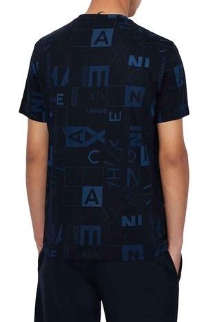 Armani Exchange - Armani Exchange Baskılı % 100 Pamuklu Bisiklet Yaka Erkek T Shirt 3KZTFC ZJH4Z 4531 LACİVERT (1)