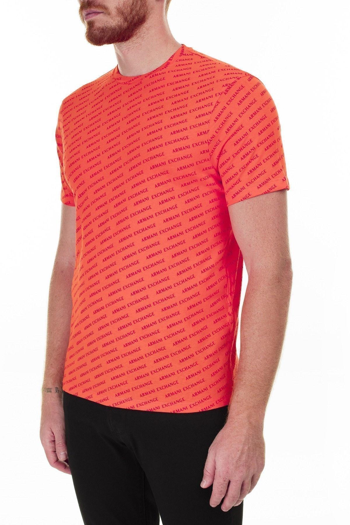 Armani Exchange Baskılı Bisiklet Yaka Erkek T Shirt 3HZTFC ZJH4Z 4608 TURUNCU