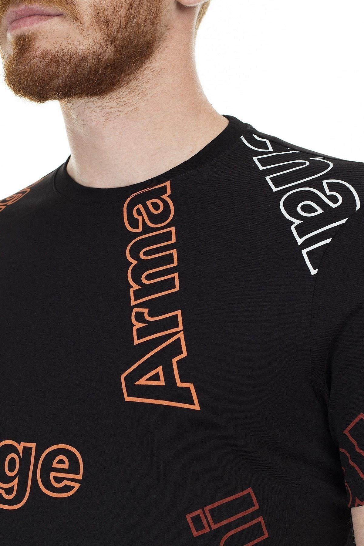 Armani Exchange Baskılı Bisiklet Yaka Erkek T Shirt 3HZTFC ZJH4Z 6260 SİYAH