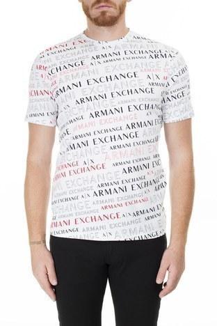 Armani Exchange - Armani Exchange Baskılı Bisiklet Yaka Erkek T Shirt 3HZTFC ZJH4Z 7152 BEYAZ