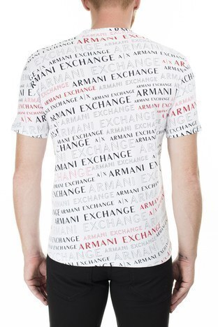 Armani Exchange - Armani Exchange Baskılı Bisiklet Yaka Erkek T Shirt 3HZTFC ZJH4Z 7152 BEYAZ (1)