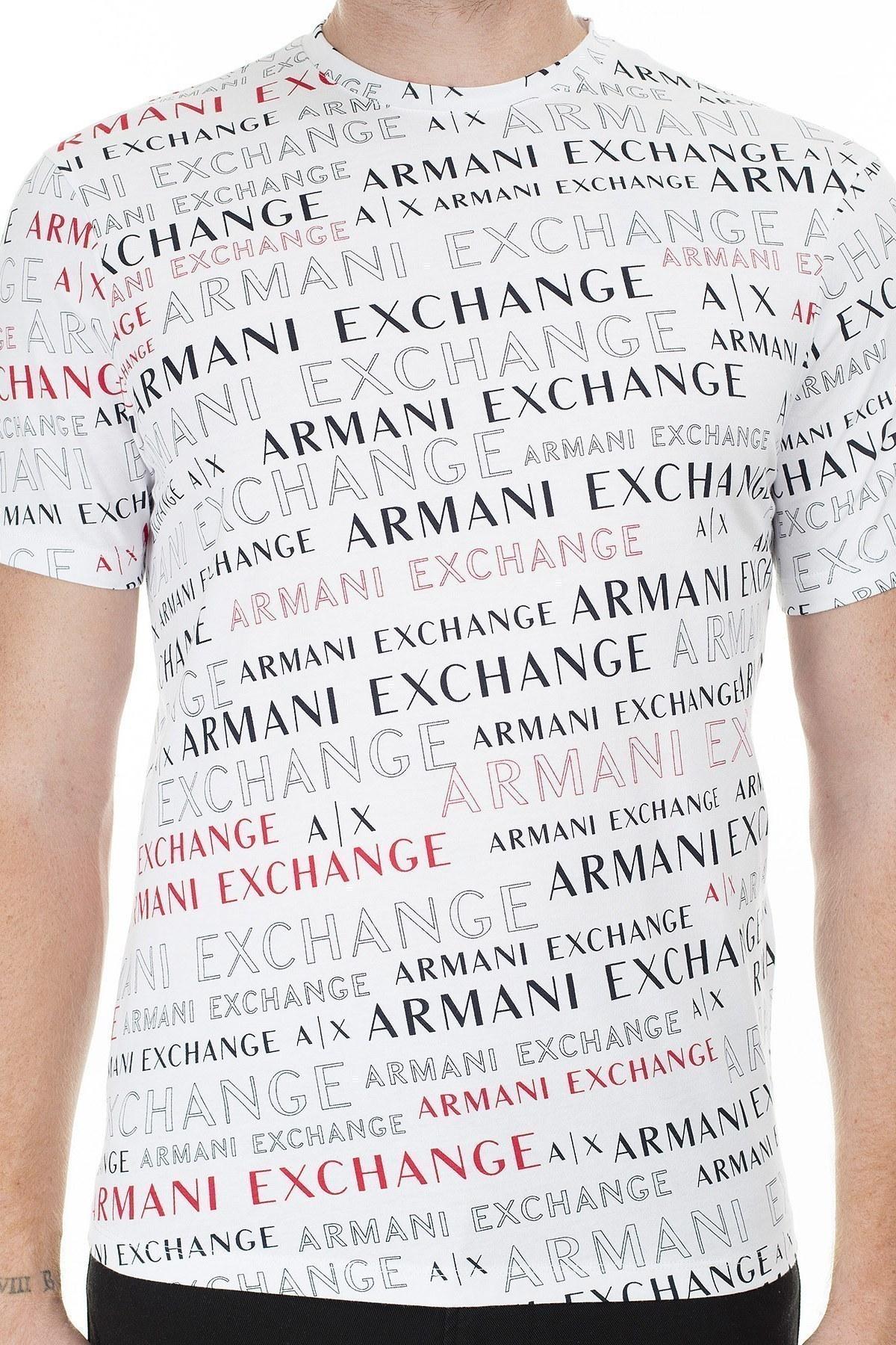 Armani Exchange Baskılı Bisiklet Yaka Erkek T Shirt 3HZTFC ZJH4Z 7152 BEYAZ