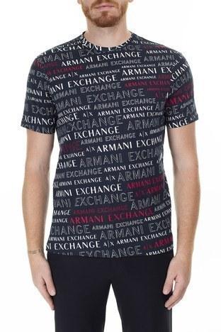 Armani Exchange - Armani Exchange Baskılı Bisiklet Yaka Erkek T Shirt 3HZTFC ZJH4Z 8535 LACİVERT