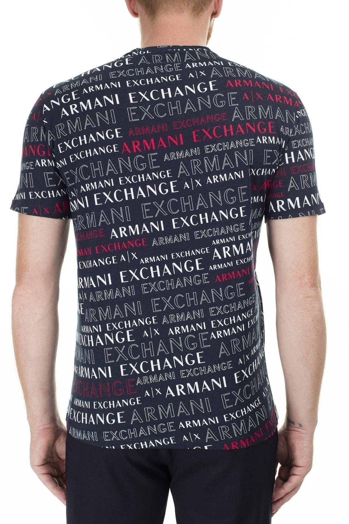 Armani Exchange Baskılı Bisiklet Yaka Erkek T Shirt 3HZTFC ZJH4Z 8535 LACİVERT