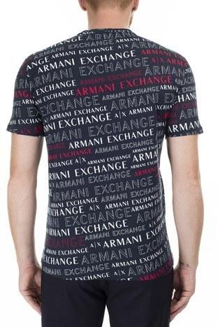 Armani Exchange - Armani Exchange Baskılı Bisiklet Yaka Erkek T Shirt 3HZTFC ZJH4Z 8535 LACİVERT (1)