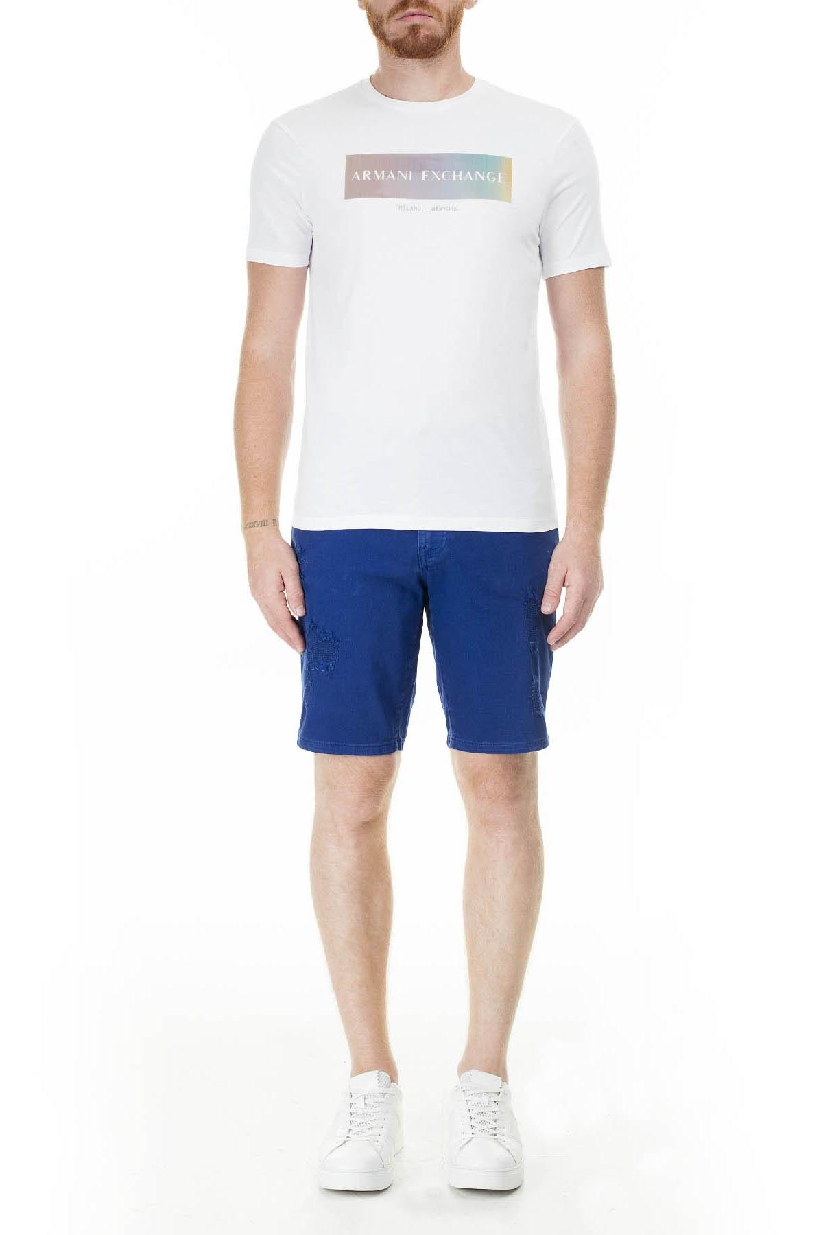 Armani Exchange Baskılı Bisiklet Yaka Erkek T Shirt 3HZTGB ZJH4Z 1100 BEYAZ