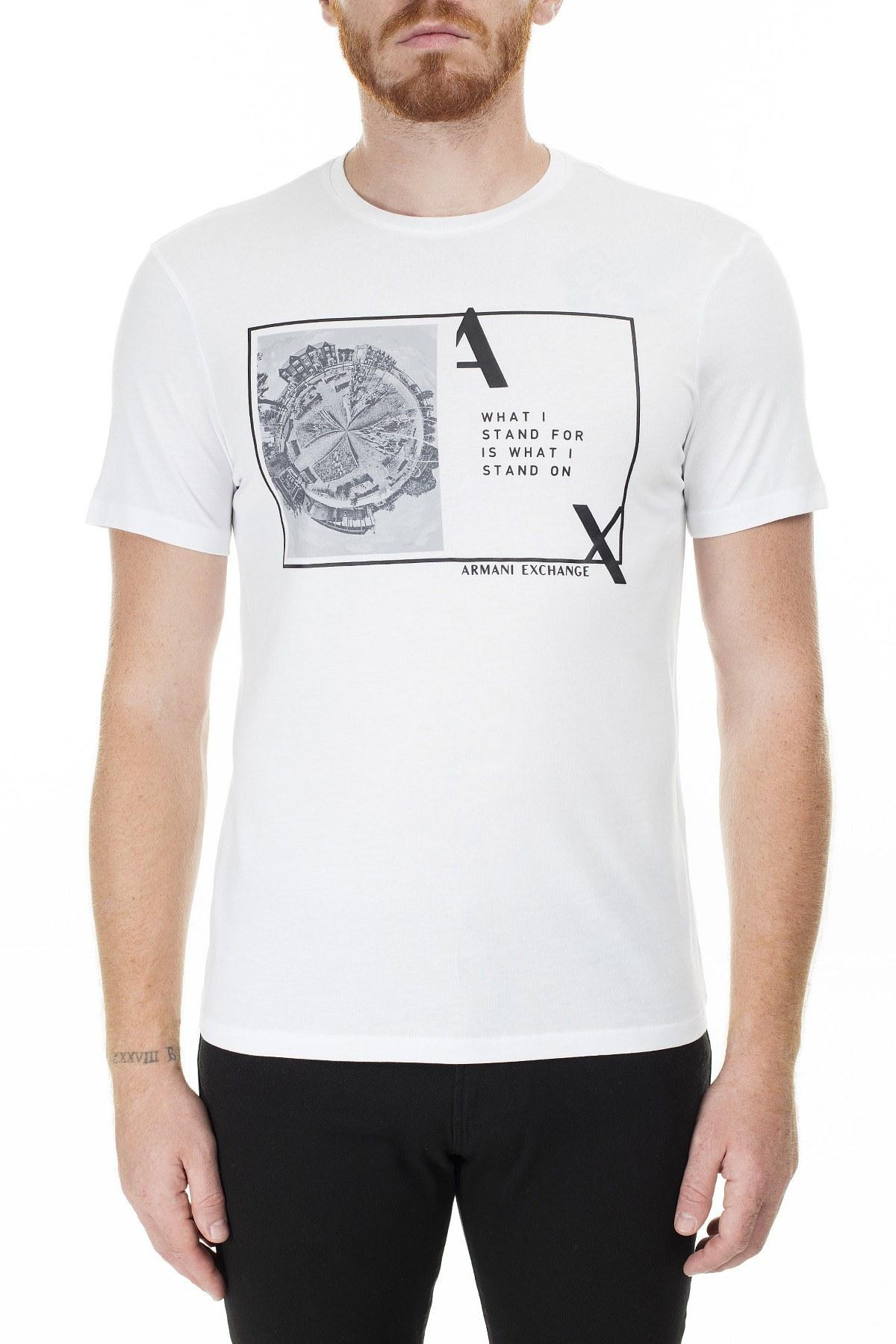 Armani Exchange Baskılı Bisiklet Yaka Erkek T Shirt 3HZTHJ ZJA5Z 1100 BEYAZ