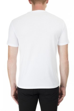 Armani Exchange - Armani Exchange Baskılı Bisiklet Yaka Erkek T Shirt 3HZTHJ ZJA5Z 1100 BEYAZ (1)