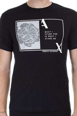 Armani Exchange Baskılı Bisiklet Yaka Erkek T Shirt 3HZTHJ ZJA5Z 1200 SİYAH