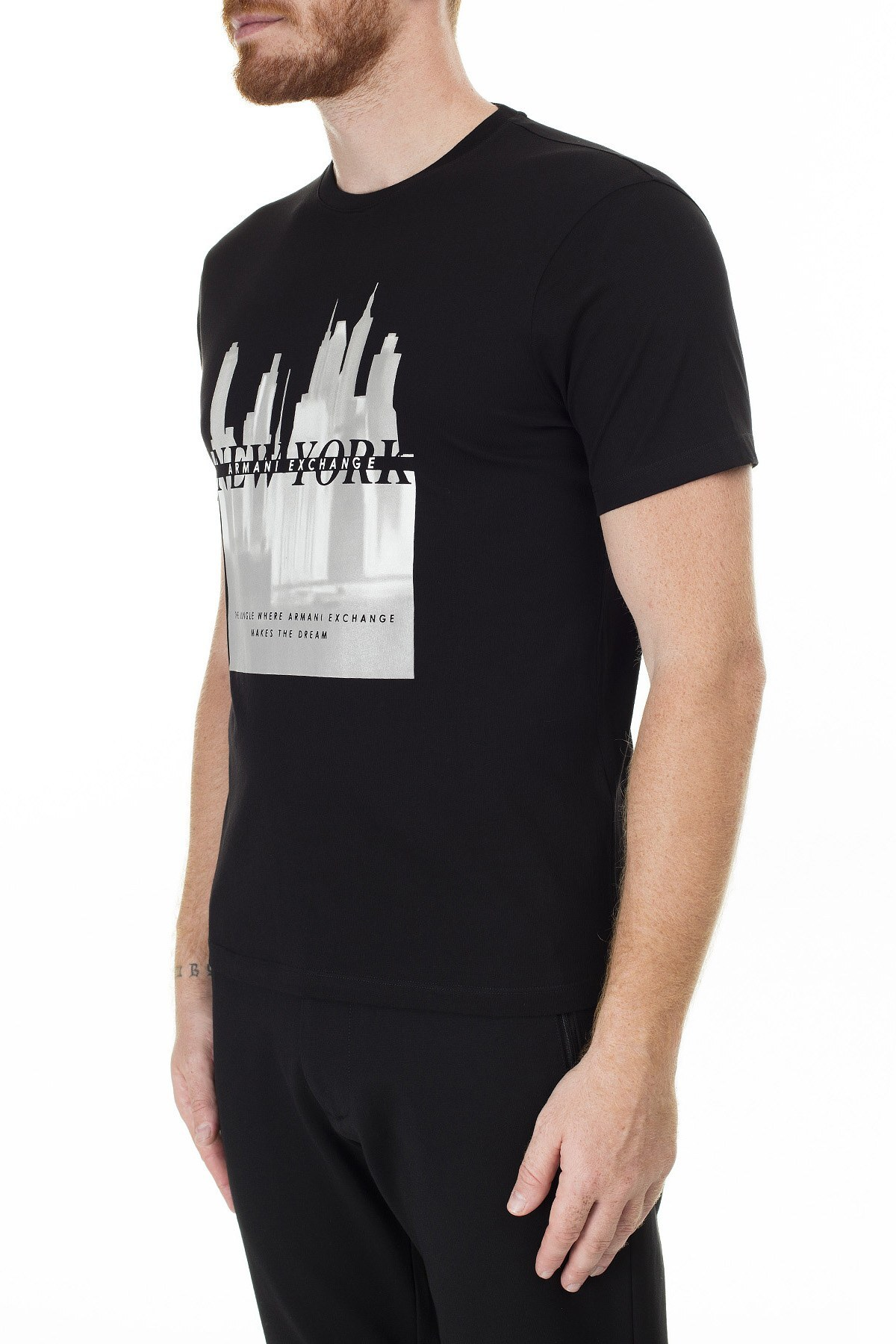 Armani Exchange Baskılı Bisiklet Yaka Erkek T Shirt 3HZTLM ZJH4Z 1200 SİYAH