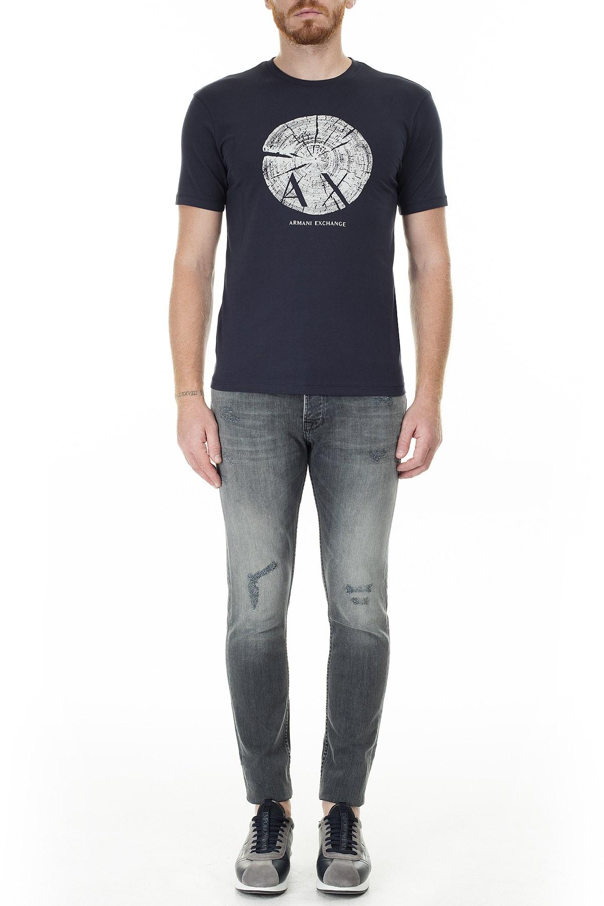 Armani Exchange Baskılı Bisiklet Yaka Slim Fit Erkek T Shirt 3HZTHG ZJE6Z 1510 LACİVERT
