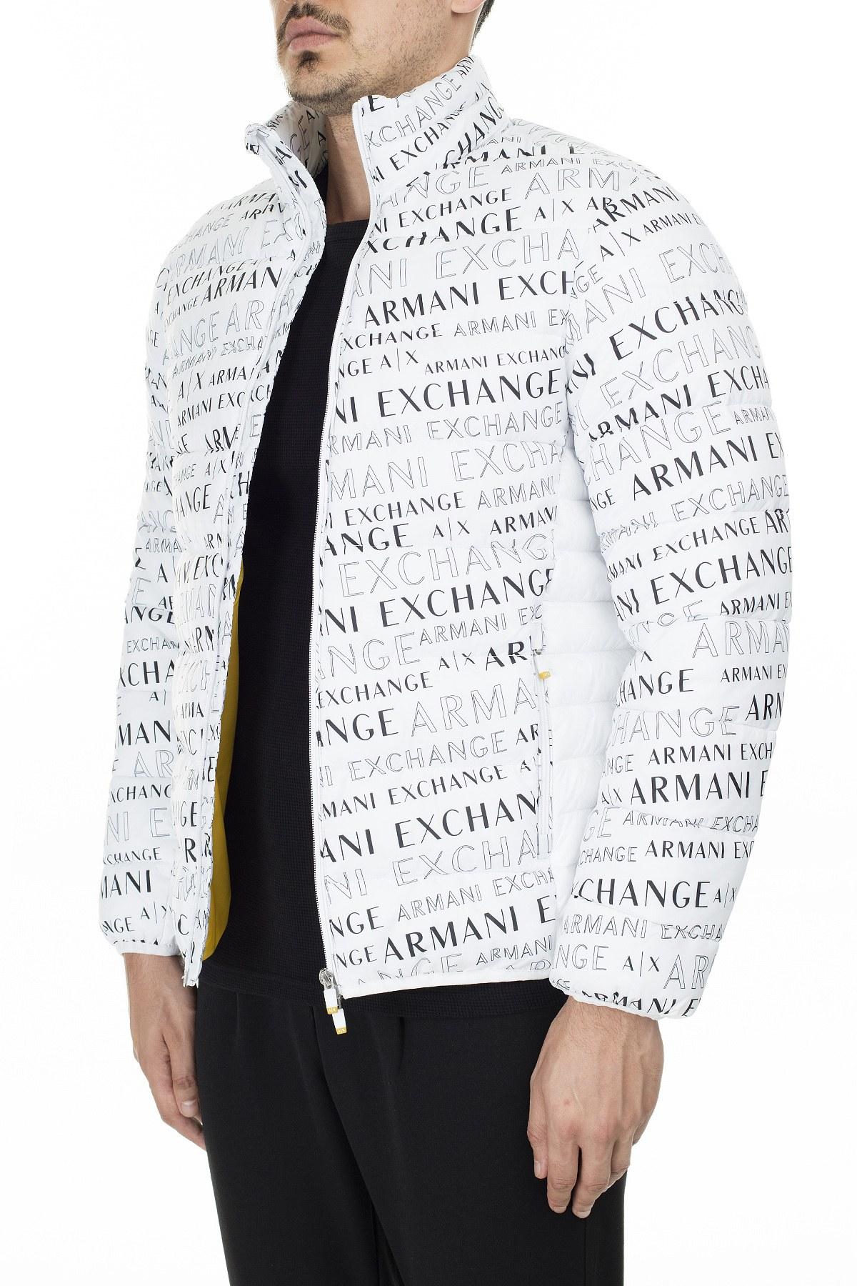 Armani Exchange Baskılı Dik Yaka Erkek Mont 6GZB06 ZNQSZ 6125 BEYAZ