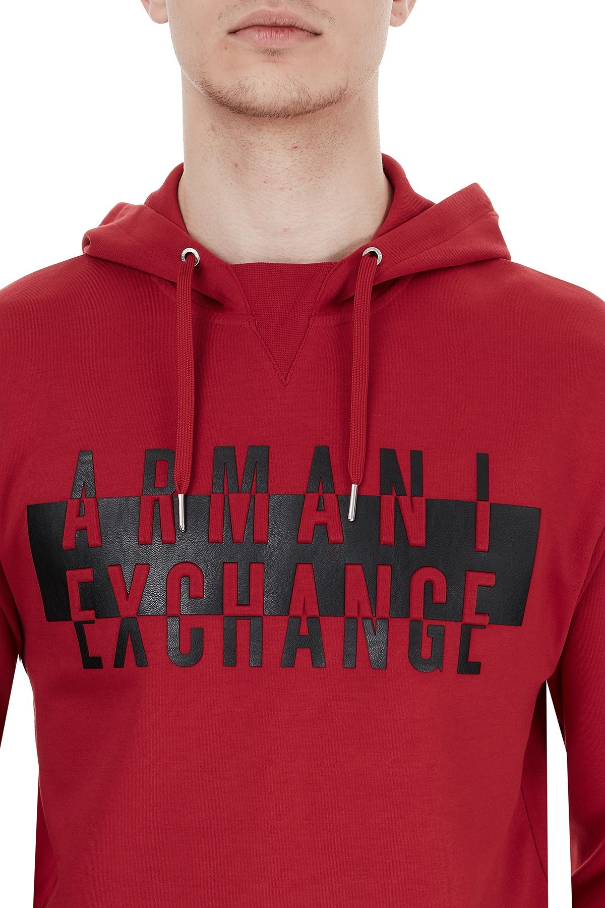 Armani Exchange Baskılı Kapüşonlu Erkek Sweat 6HZMFK ZJQ2Z 1463 KIRMIZI