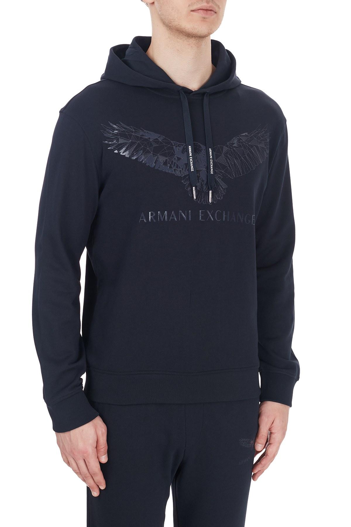 Armani Exchange Baskılı Kapüşonlu Erkek Sweat 6HZMFY ZJ5CZ 1510 LACİVERT