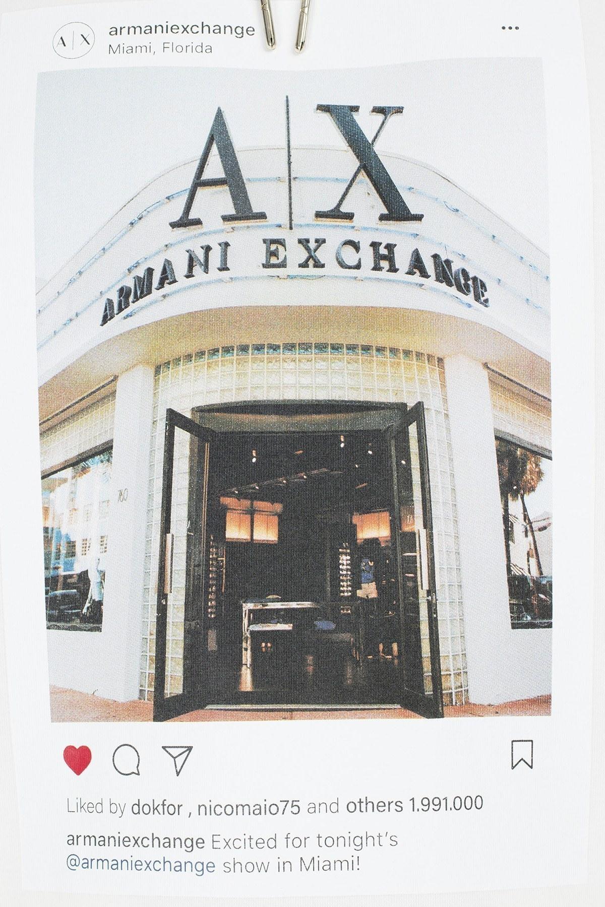Armani Exchange Baskılı Kapüşonlu Örme Erkek Sweat 6GZM85 ZJ2XZ 1100 BEYAZ