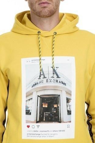 Armani Exchange Baskılı Kapüşonlu Örme Erkek Sweat 6GZM85 ZJ2XZ 1650 SARI