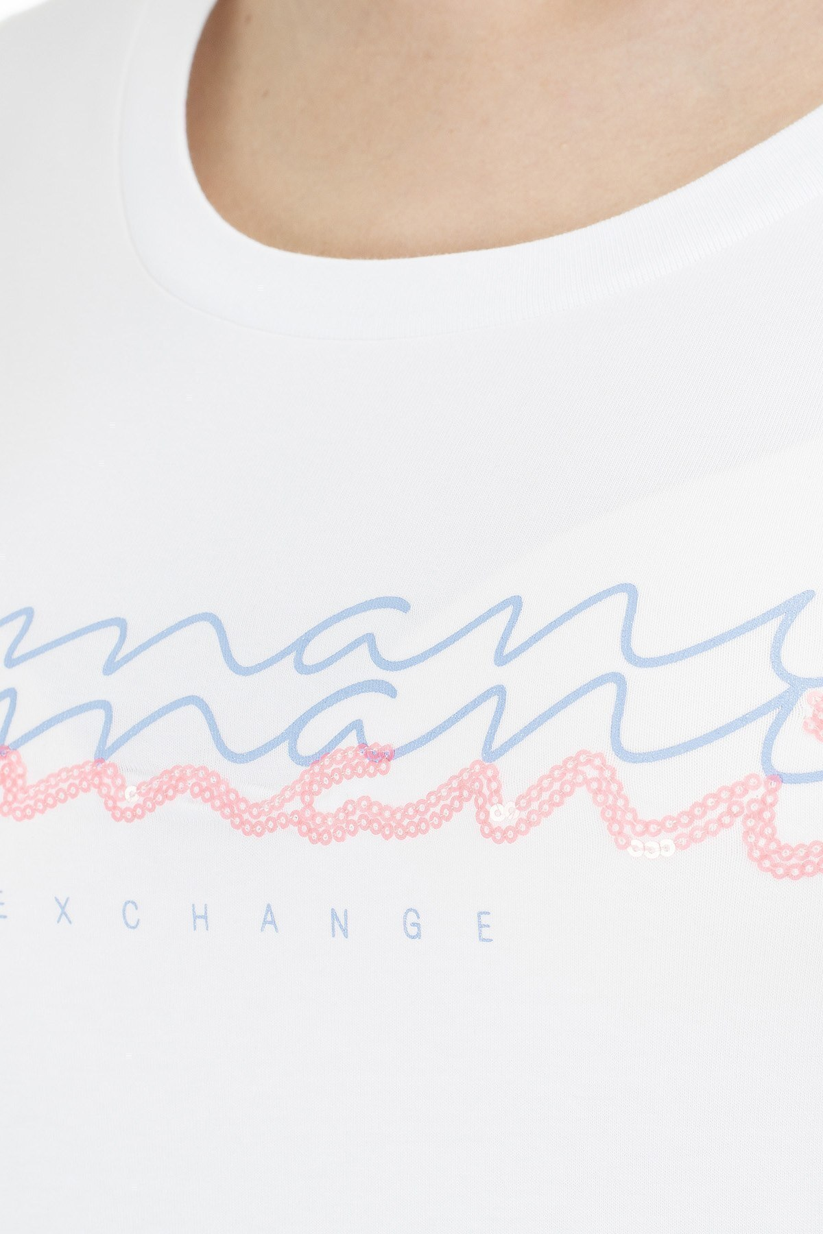 Armani Exchange Baskılı Pamuklu Bisiklet Yaka Kadın T Shirt 3HYTCG YJ9AZ 1000 BEYAZ