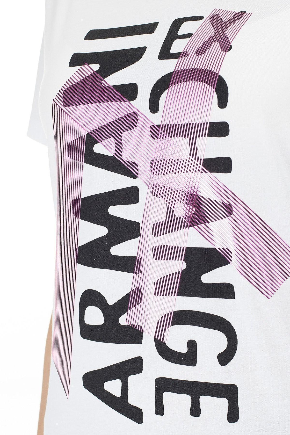 Armani Exchange Baskılı Pamuklu Bisiklet Yaka Kadın T Shirt 3HYTEC YJ16Z 1000 BEYAZ