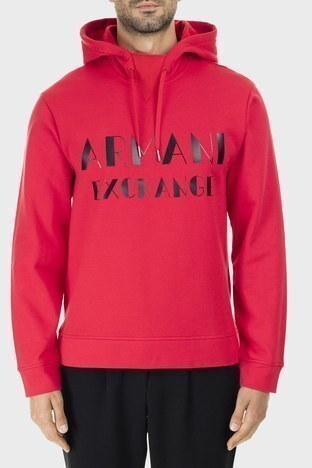 Armani Exchange - Armani Exchange Baskılı Pamuklu Kapüşonlu Erkek Sweat 6GZMBP ZJ1PZ 1400 KIRMIZI