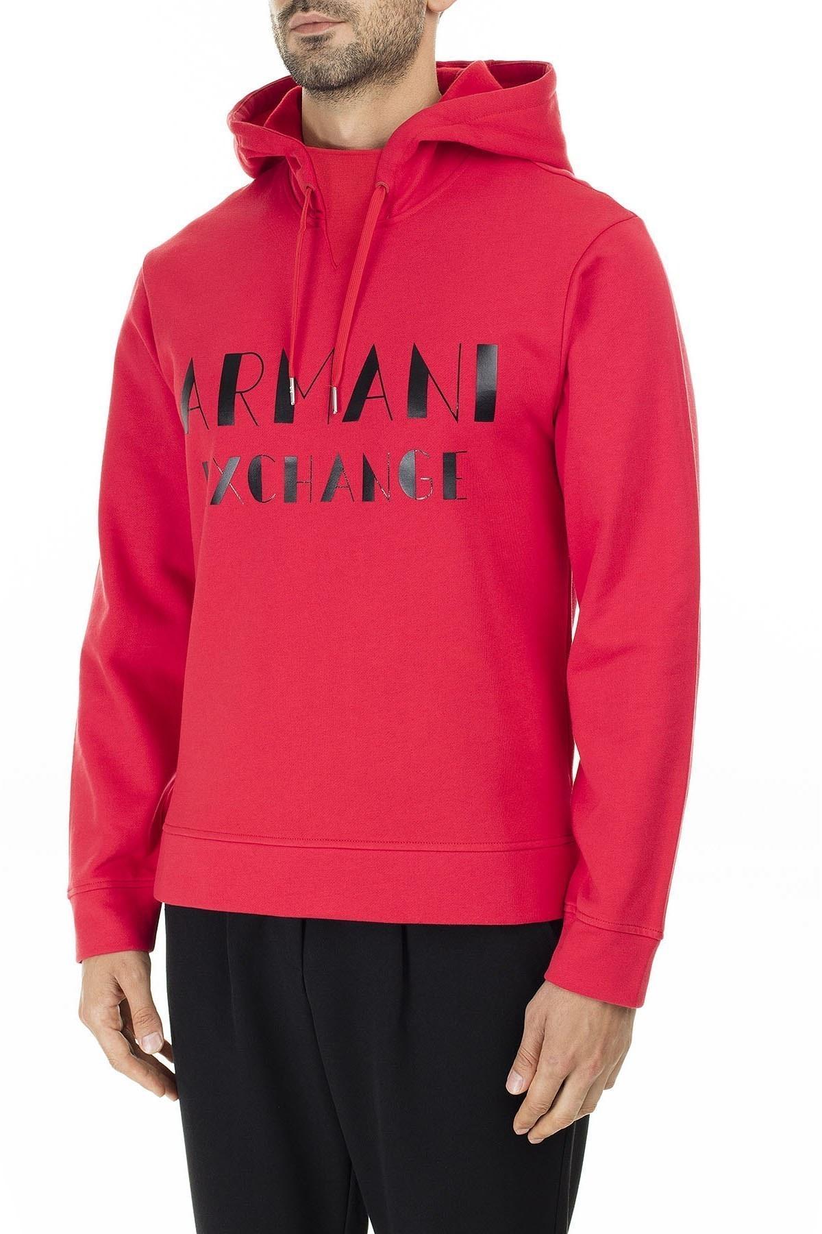 Armani Exchange Baskılı Pamuklu Kapüşonlu Erkek Sweat 6GZMBP ZJ1PZ 1400 KIRMIZI