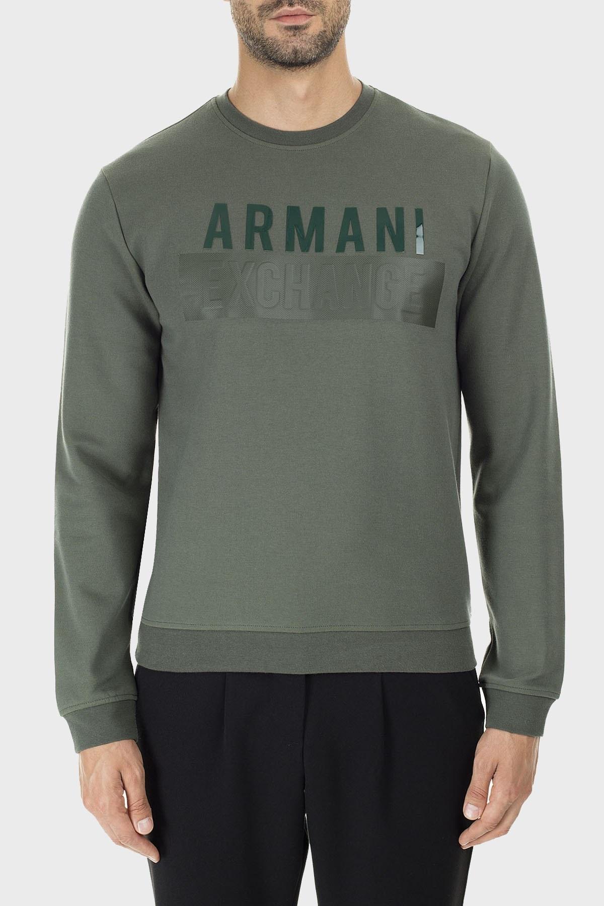 Armani Exchange Baskılı Pamuklu Sıfır Yaka Erkek Sweat 6GZM93 ZJ1KZ 1842 HAKİ