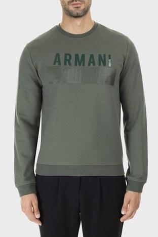 Armani Exchange - Armani Exchange Baskılı Pamuklu Sıfır Yaka Erkek Sweat 6GZM93 ZJ1KZ 1842 HAKİ