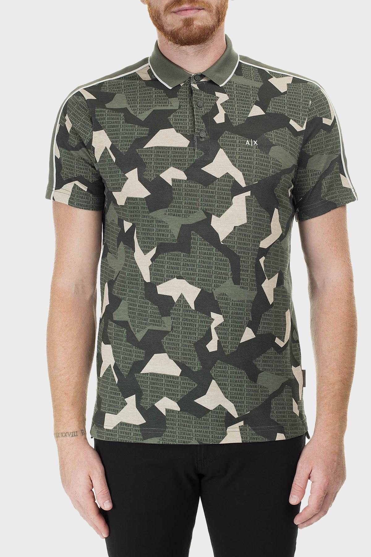 Armani Exchange Baskılı Regular Fit Düğmeli T Shirt Erkek Polo 3HZFGC ZJM5Z 2877 YEŞİL