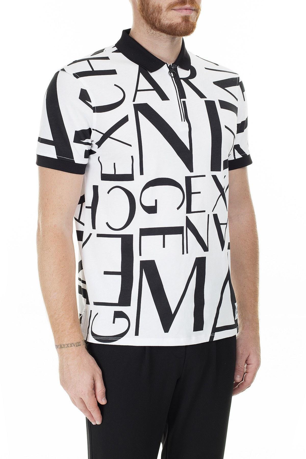 Armani Exchange Baskılı Regular Fit T Shirt Erkek Polo 3HZFFA ZJH4Z 5189 BEYAZ