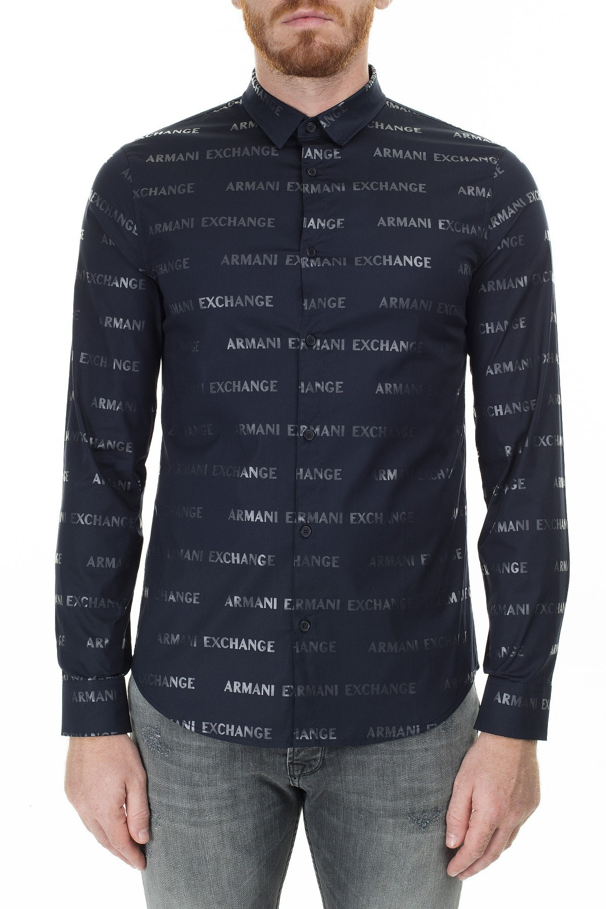 Armani Exchange Baskılı Slim Fit Uzun Kollu Erkek Gömlek 3HZC35 ZNLFZ 9537 LACİVERT