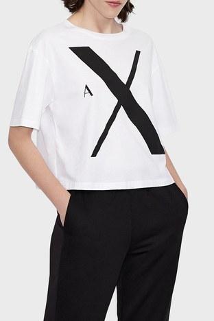 Armani Exchange - Armani Exchange % 100 Organik Pamuk Relaxed Fit Bayan T Shirt 6KYTAF YJ8QZ 1000 BEYAZ