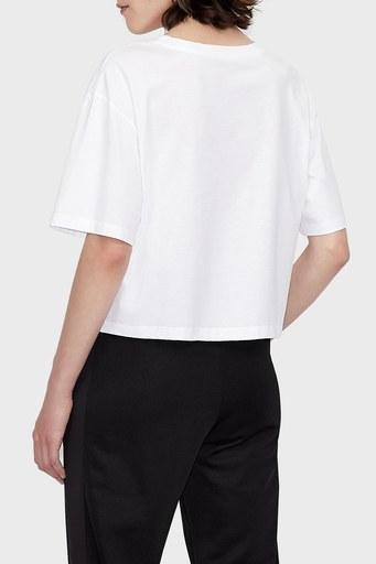 Armani Exchange % 100 Organik Pamuk Relaxed Fit Bayan T Shirt 6KYTAF YJ8QZ 1000 BEYAZ