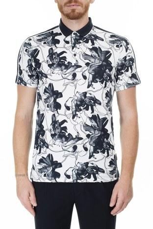 Armani Exchange - Armani Exchange Desenli Regular Fit T Shirt Erkek Polo 3HZFGC ZJM5Z 7180 BEYAZ-LACİVERT