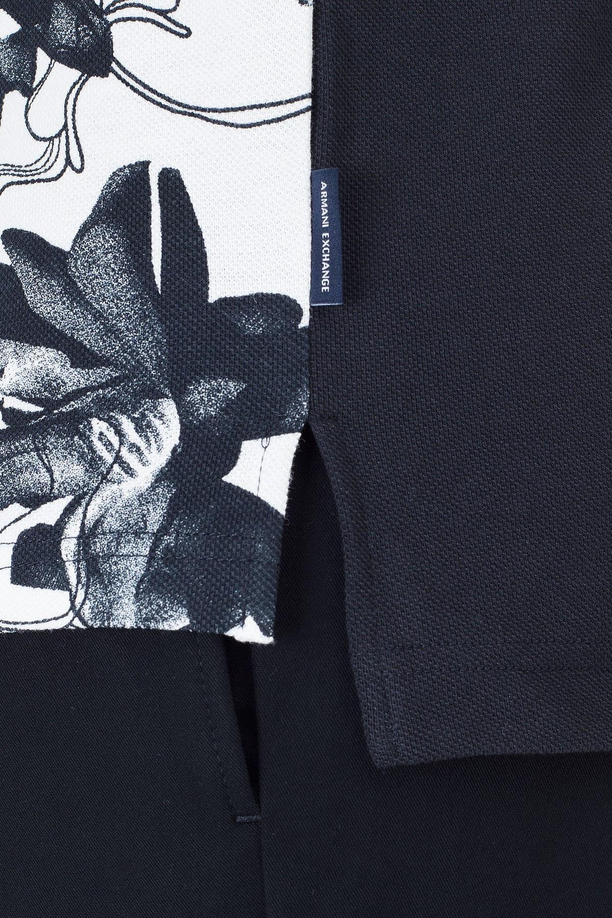 Armani Exchange Desenli Regular Fit T Shirt Erkek Polo 3HZFGC ZJM5Z 7180 BEYAZ-LACİVERT