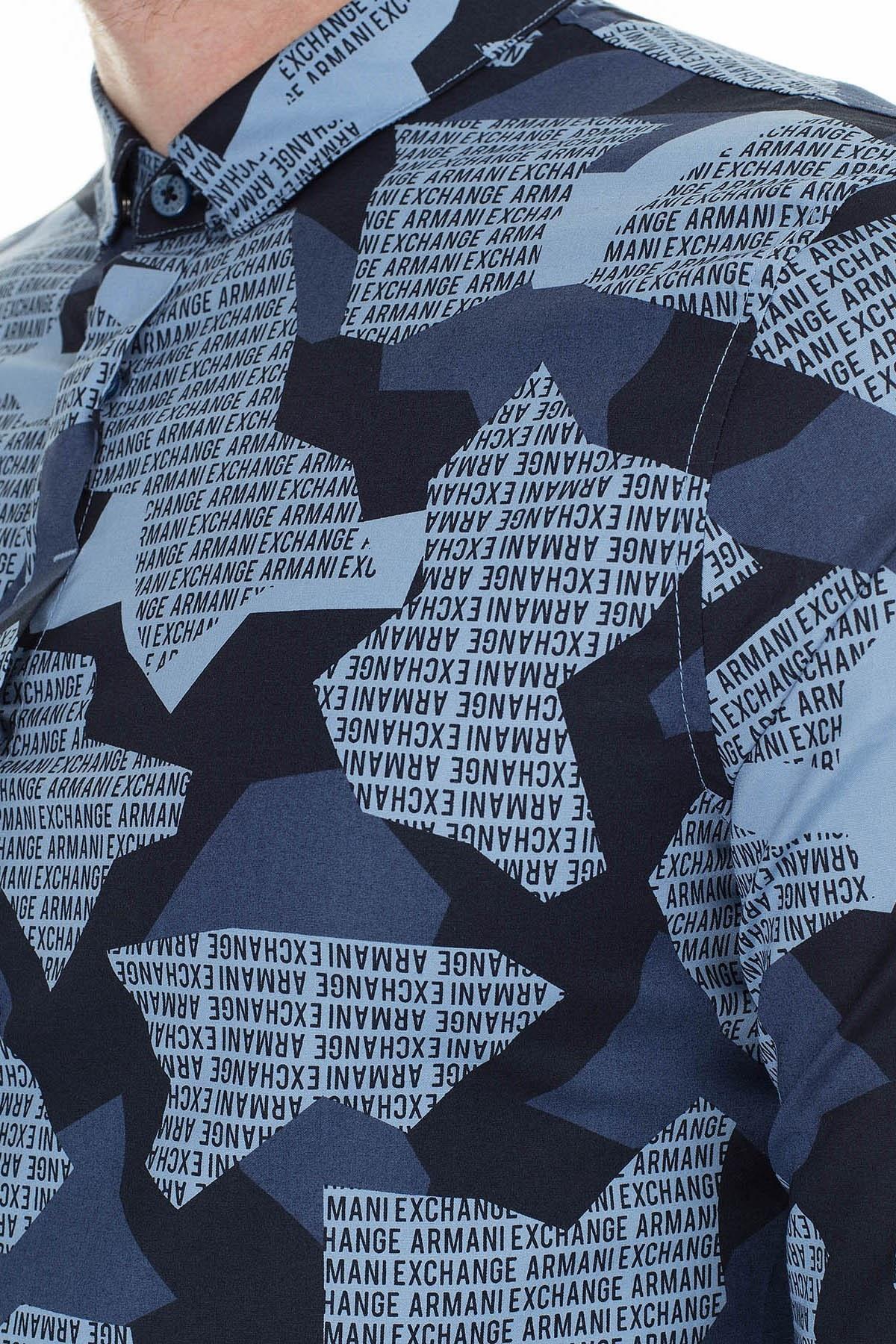 Armani Exchange Desenli Slim Fit Uzun Kollu Erkek Gömlek 3HZC25 ZNEAZ 9510 MAVİ