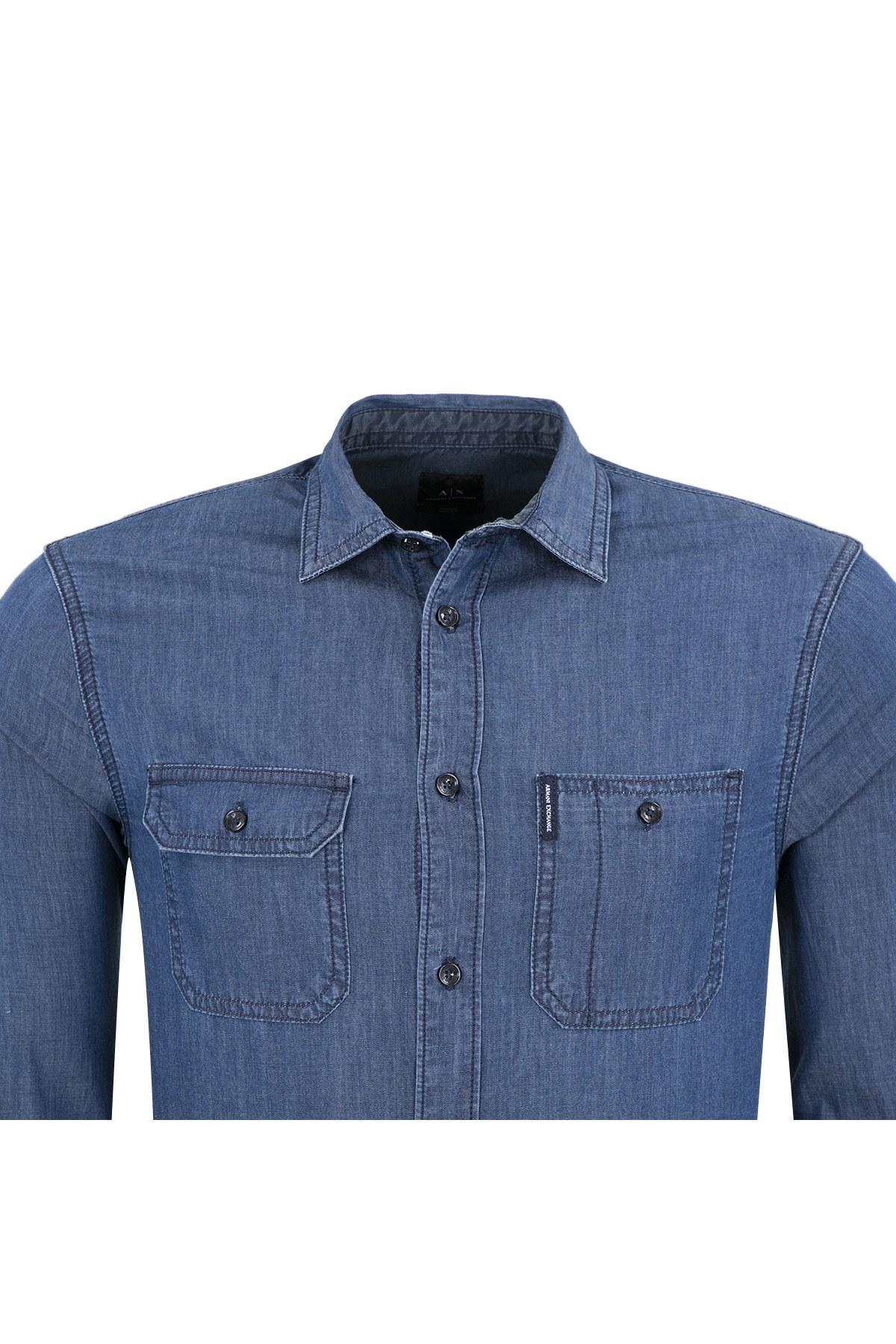 ARMANI EXCHANGE Erkek Gömlek 6ZZC38 Z1GDZ 1500 MAVİ