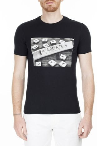 Armani Exchange - Armani Exchange Erkek T Shirt 3HZTBC ZJ2HZ 1200 SİYAH