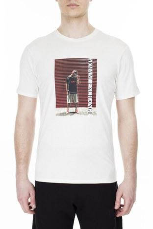 Armani Exchange - Armani Exchange Erkek T Shirt 3HZTBQ ZJN7Z 1100 BEYAZ