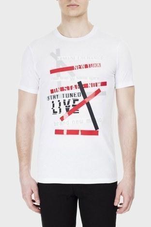 Armani Exchange - Armani Exchange Erkek T Shirt 3HZTBV ZJH4Z 1100 BEYAZ