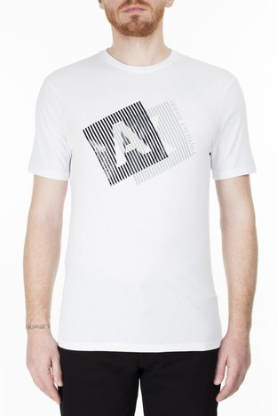 Armani Exchange - Armani Exchange Erkek T Shirt 3HZTGF ZJH4Z 1100 BEYAZ