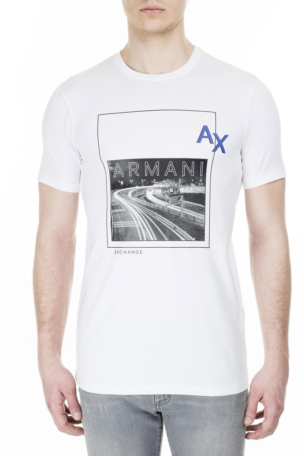 Armani Exchange Erkek T Shirt 3HZTGH ZJE6Z 1100 BEYAZ