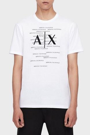 Armani Exchange - Armani Exchange % 100 Pamuk Bisiklet Yaka Regular Fit Erkek T Shirt 6KZTBR ZJV5Z 1100 BEYAZ