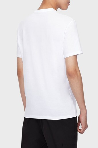 Armani Exchange % 100 Pamuk Bisiklet Yaka Regular Fit Erkek T Shirt 6KZTBR ZJV5Z 1100 BEYAZ